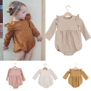 Baby Girl Newborn Classic Long Sleeve Linen Cotton Romper Outfit One-Piece