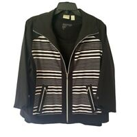 Zenergy By Chicos Womens Jacket & Blouse Black Stripe Zip Up Stretch L/12 NWOT's