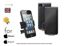 iPhone 5/5S Set PU Leather Flip Case Cover and Car Vent holder Fast Free Post