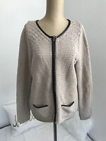 Old Navy Womens Sweater Jacket Zip Up Faux Leather Trim Long Sleeve Beige Sz M