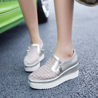 Women Wedge High Heels Platform Breathable Sports Shoes Creepers Casual Sneakers
