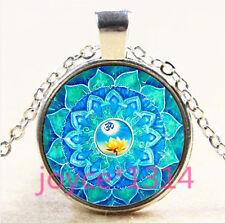 Yoga Jewelry Om Symbol Lotus Mandala Zen Glass Dome silver Pendant Necklace#3876