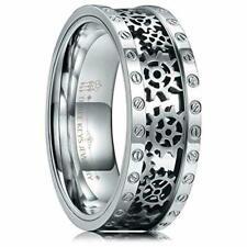 Titanium Men's Wedding Ring Silver Gear Band New*