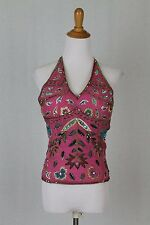 Vintage 90's AFTERSHOCK Beaded Sequined Silk Pink Lace Up Halter Corset Top S M