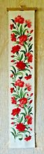 Hand-stitched Completed Needlepoint Cross Stitch Bell Pull - Carnations
