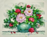 """New Completed finished cross stitch needlepoint""""Flowers Vase""""Decor Gifts"""