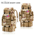 80L Outdoor Molle Military Tactical Bag Camping Hiking Trekking Backpack Camo US