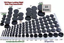 1 Locking Rigid Plastic Hole Plug Assortment - 23 Sizes 132 Pieces - Black Nylon