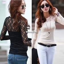 Moda Donna manica lunga pizzo floreale camicia di camicetta superiore T-Shirt DS