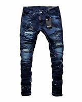 NEW Dsquared2 Men's Slim Fit Painted Elastic Torn Blue Jeans 21507 Made in Italy