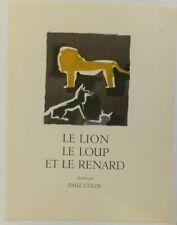 Paul Colin fables de la Fontaine le lion le loup et le renard litho originale