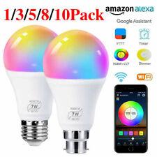 B22 E27 Wifi Smart LED Light Bulb Dimmable Lamp For Alexa Google Home RGBCW New