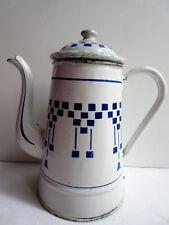 Belle cafetière ancienne, tôle émaillée damier bleu sur fond blanc: Lustucru