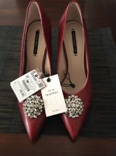 New Zara Women Red Leather Rhinestones High Heels Shoes SZ 6.5