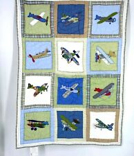 """New listing Pottery Barn Vintage Airplane Patchwork Toddler Quilt 49"""" X 36"""""""