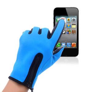 Women Men Touch Screen Gloves Winter Warm Thermal Waterproof Anti-slip Zipper