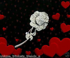 MOTHERS DAY GIFT FOR MOM GRANDMOTHER~LONG STEM ROSE RHINESTONE FLOWER BROOCH PIN