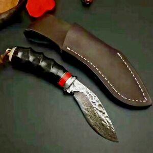 Mini Kukri Knife Drop Hunting Tactical Jungle Combat Damascus Steel Horn Handle