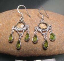 Sterling silver beautiful cut green amethyst & peridot gemstones earrings.
