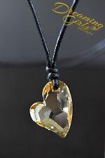100% Genius Astral Pink Swarovski Crystal Heart Necklace - Adjustable Cloth rope