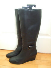 NEXT BLACK LEATHER KNEE HIGH WEDGE BOOTS SIZE: UK 6  EU 39 NWOB TAG PRICE £85.00