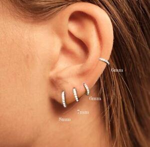Solid 925 Sterling Silver Small Stud Hoop Huggie Round Earrings Gift - One Pair