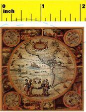 Miniature   Antique 17th Century  World Map Print  - Dollhouse  1:12 scale