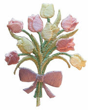 """#3950 6 1//2/"""" Purple Pink Tulip Flower Spring Embroidery Iron On Applique Patch"""