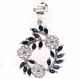 NATURAL HEATED 2 X 4 mm. BLUE SAPPHIRE & WHITE CZ 925 STERLING SILVER PENDANT