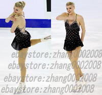 Ice Skating Dress.Black Competition Figure Skating.Baton Twirling Costumes