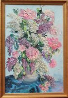Listed Artist Erno Gyimesy Kasas Large Original oil painting on canvas, Lilac