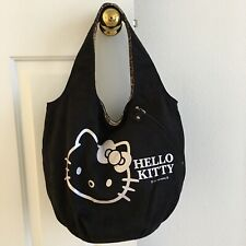 Sanrio Hello Kitty Shoulder Tote Bag Black & Silver Suede Feel Magnetic Close
