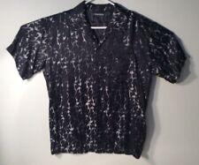 ODO Medium Black Shiny Metallic Silver Flames Retro Rockabilly Shirt Button Down