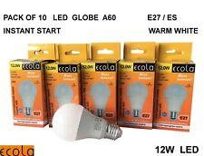 10 X ECOLA 12 W A60  E27 ES Globe / Golf LED  bulbs WARM WHITE Lifespan 30000hrs