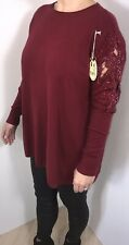 Womens Oversized Jumper Lace Wine Berry Pearls Crystals Plus Size 16-20 NEW