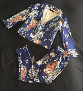 Zara Set Floral Blue Blazer & Trouser Suit Lucy Mecklenburgh Wore The Same One!