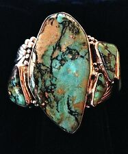 APACHE MASTERPIECE HUGE HEAVY SIGNED STERLING BRACELET w/6 Lg.Royston Turquoise