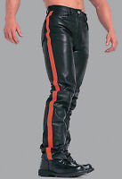 New Men's Black Biker Leather Jeans Pant Designer Trouser Motorcycle Chaps M53
