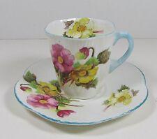 Shelley Bone China Demitasse Cup Saucer - Begonia pattern