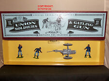 BRITAINS 8884 UNION INFANTRY GATLING GUN + 3 MAN CREW METAL TOY SOLDIER SET