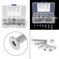 180pcs M/4 304 Stainless Steel Flat Head Bolts Screws Nuts Assortment Kit + Box