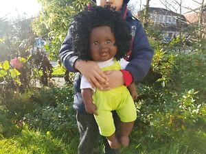 "18"" Large Adaliya Big Baby Female Doll Afro Black African Anatomically Correct"