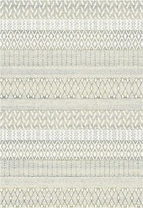 Ethenic Geometric Design Cream Beige Grey Colour Easy care Hard wearing Rug