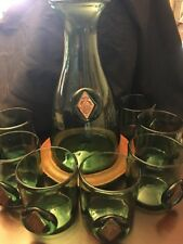 Green Hand Blown Glass Carafe Decanter With Embedded Medallion Set 9 Pc Set