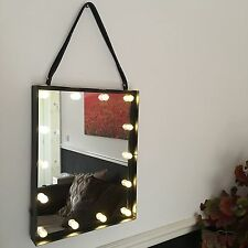 Led Light Up Hanging WALL BATHROOM MIRROR INDUSTRIAL DRESSING VANITY 48cm