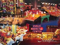 NEW POST CARD  AERIAL VIEW PUBLIC MARKET CENTER  SEATTLE  WASHINGTON
