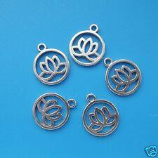 5 Tibetan Silver Lotus Flower Pendant Charms