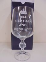 Personalised 9z Crystal Wine Glass, Birthday, Christmas KEEP CALM AND DRINK WINE