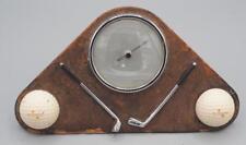 Vintage Enbeeco N&B Leather Faced Desktop Barometer Golf Ball Theme