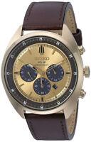 Seiko Men's Recraft Chrono Quartz Solar Powered Brown Leather Watch SSC570
